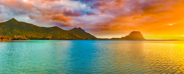 Amazing landscape. Le Morne Brabant at sunset. Mauritius. Panorama