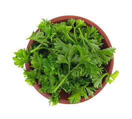 Top view of a red clay bowl filled with chopped curly parsley isolated on a white background.