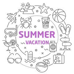 Summer Vacation Linear illustration