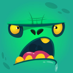 Cartoon growling zombie face. Vector zombie monster square avatar
