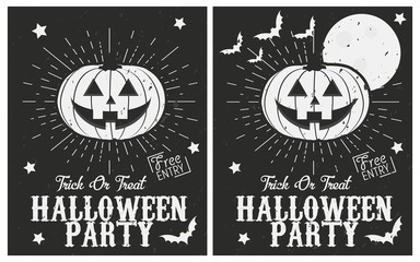 Halloween vintage posters set. Halloween party posters - Halloween pumpkin with retro sunburst. Grunge texture can be easily disabled