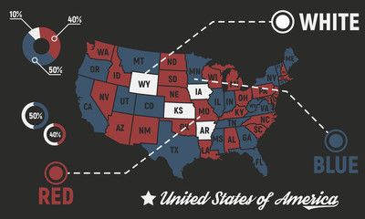 Wall Mural - Poster map of United States of America with state names. USA map Infographics. Template