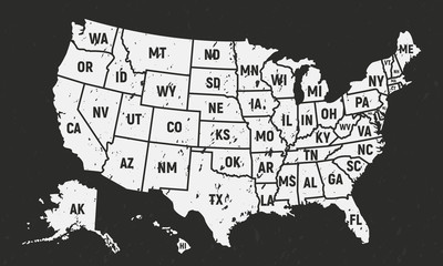 Wall Mural - United States of America retro poster map. USA map with short state names - vintage background. Grunge texture can be easily disabled