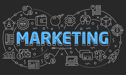 Linear illustration slide for the presentation marketing