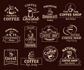Coffee cup label set for cafe and shop design