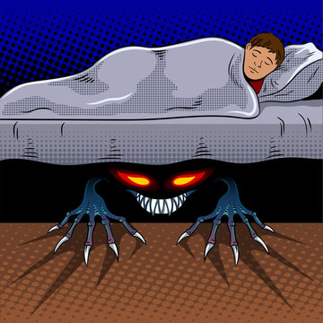 Child with monster under the bed pop art vector