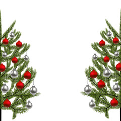 New Year, Christmas card. The image of a beautiful green spruce on both sides, decorated with red and silver balls. illustration