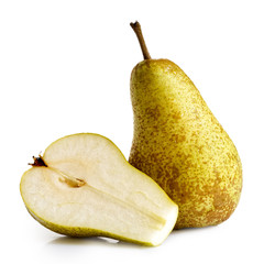 Single abate fetel pear next to a half of pear isolated on white.
