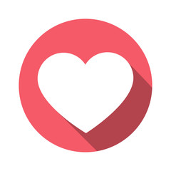 Heart icon circle logo with long shadow. Vector.