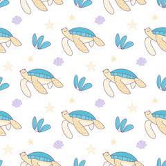Hand drawn cartoon turtles seamless vector pattern