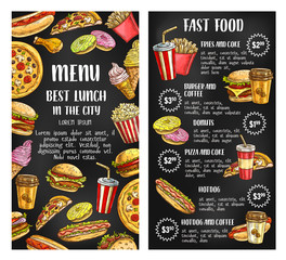 Fast food restaurant menu banner on chalkboard