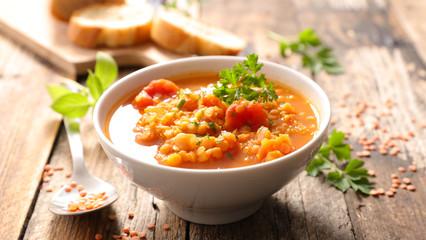 bowl of lentils soup