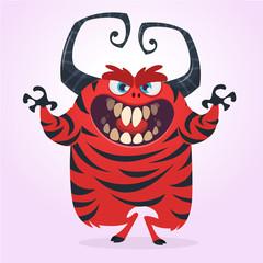 Cartoon red monster illustration. Vector