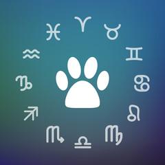 Horoscope circle with an animal footprint