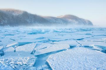 Field of ice hummocks on the frozen Lake Baikal