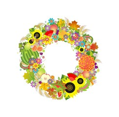 Autumnal decorative wreath with fruits, flowers and wheat