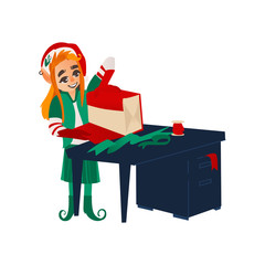 vector flat cartoon hand drawn christmas elf girl standing near table wrapping present box. Fairy holiday character in christmas santa hat. Isolated illustration on a white background