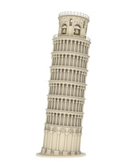 Poster de jardin Artistique Leaning Pisa Tower Isolated