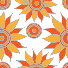 Seamless pattern with orange abstract flower isolated on the white background