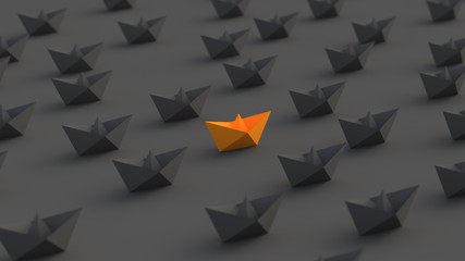 Leadership, success, and teamwork concept, orange leader boat among black boats. 3D Rendering.