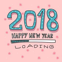 2018 Happy New Year loading cartoon vector illustration