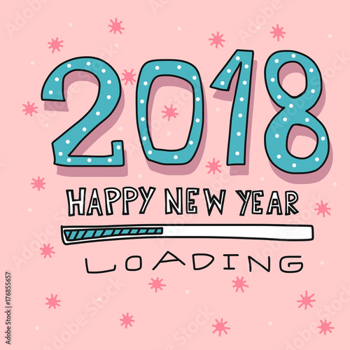 2018 happy new year loading cartoon vector illustration
