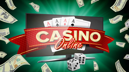 Online Casino Banner Vector. Realistic Computer Monitor. Winner Lucky Symbol. Jackpot Casino Billboard, Signage, Marketing Luxury Poster Illustration.