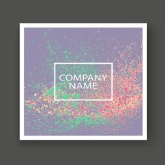 Neon light explosion paint splatter artistic cover frame design. Decorative splash spray texture purple pastel background. Trendy template vector Cover Report Catalog Brochure Flyer Poster Banner