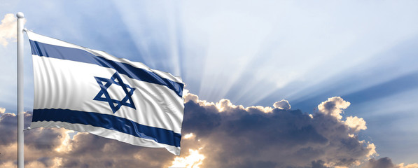 Israel flag on blue sky. 3d illustration