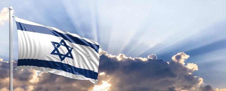 Israel flag on blue sky. 3d illustration