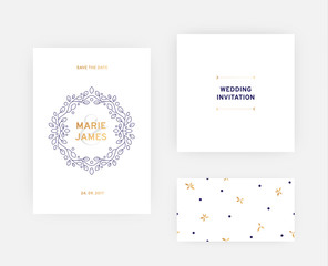 Modern floral wedding card template, flyer with design element and seamless pattern. Vector illustration