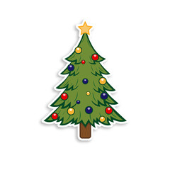 Happy New Year and Merry Christmas. Christmas tree on the white background. Holiday sticker.