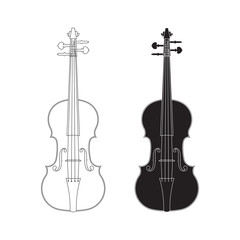 Violin, line design, isolated on white background, vector illustration