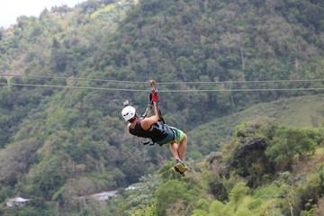Zipline. Adventure in Puerto Rico. Caribbean island. Toro Verde