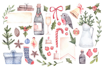 Watercolor illustration. Decorative christmas elements with floral elements, christmas decorations, champagne, labels etc. Perfect for invitations, greeting cards.