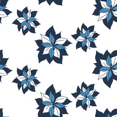 Tropical contrast seamless dark blue indigo flowers pattern on white background