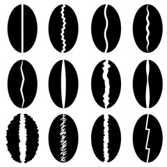 Set of Different Coffee Beans Silhouettes Isolated on White Background