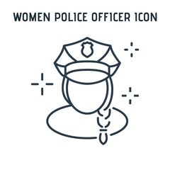 Linear icon female police officer .