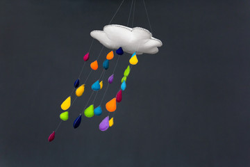 Mobile Of Cloud With Raindrops Blown By Wind