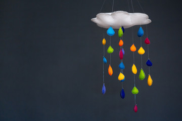 Mobile Of Cloud With Raindrops Falling Down