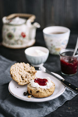 Food: Wholemeal scone tea time with clotted cream and strawberry jam