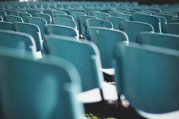 Empty blue seats