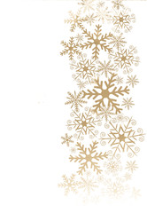 Christmas background with golden snowflakes.