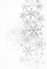 Christmas background with silver snowflakes on white