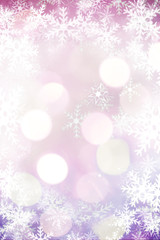 Beautiful blurred bokeh lights for Christmas and New Year celebration. Magical abstract glittery backgroun with falling snowflakes.