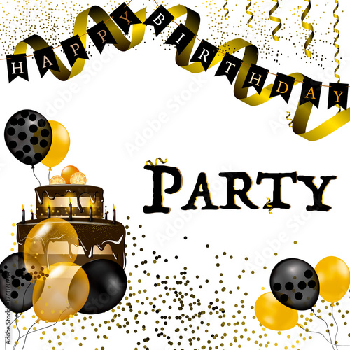 Party Happy birthday vector illustration - Gold foil confetti and