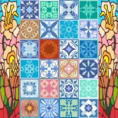 Photo sur Toile Tuiles Marocaines Glazed ceramic mosaic with Moroccan, Spanish, Portuguese motifs.