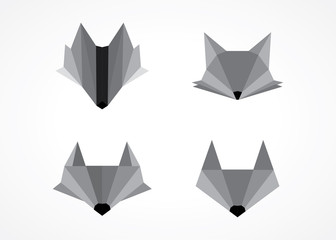 modern grayscale wolf fox head logo design set