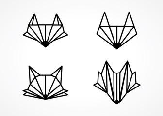 modern line style fox head logo design