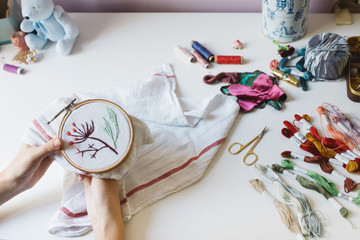Woman Doing Embroidery Work